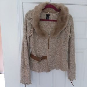 Sweater - zip front with faux fur and leather